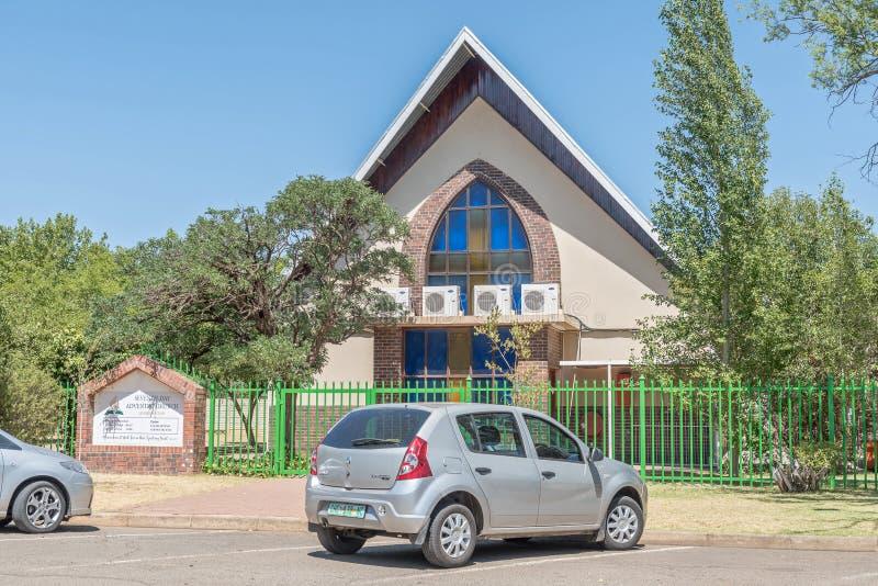 De zevende Dag Adventistenkerk in Universitas in Bloemfontein stock fotografie