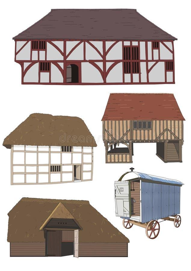 De zeventiende en 18de eeuwwoningen royalty-vrije illustratie