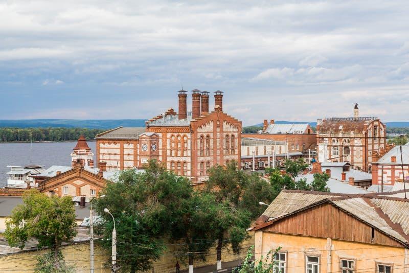 De Zhigulevsk-brouwerij Het gebouw werd gebouwd in 1881 Rusland, Samara, September 2017 royalty-vrije stock fotografie
