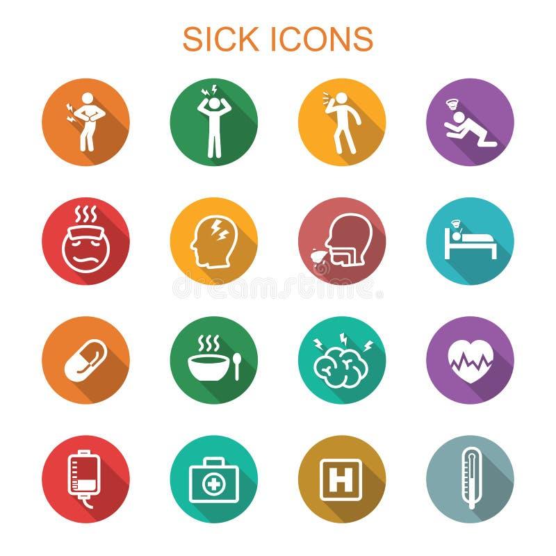 De zieken snakken schaduwpictogrammen vector illustratie