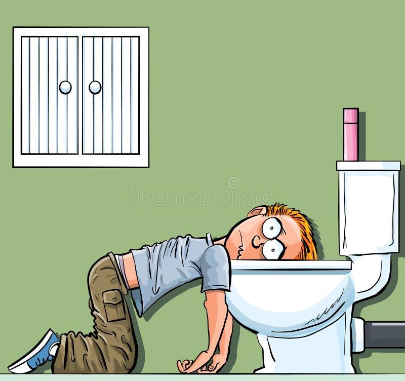 De zieken van de de tienerjongen van het beeldverhaal in het toilet vector illustratie
