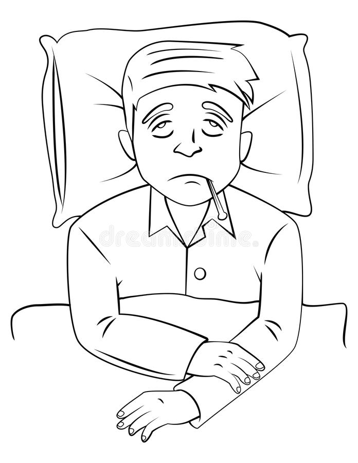 De zieken van de koortsmens op bed stock illustratie