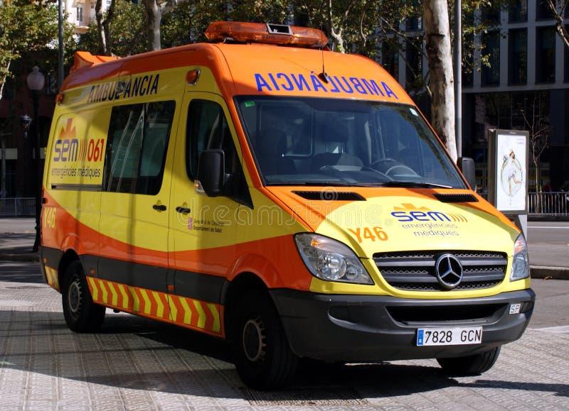 De Ziekenwagen van Barcelona stock afbeeldingen