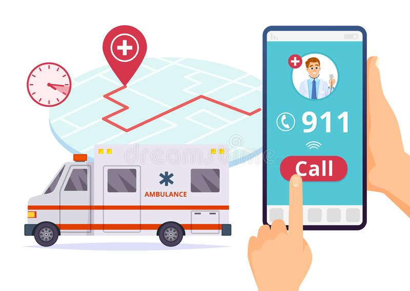 De ziekenwagendienst Het dringende vectorconcept van de het 911 ziekenhuisnoodoproep royalty-vrije illustratie