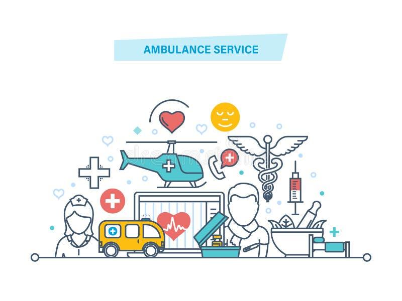 De ziekenwagendienst Moderne geneeskunde, gezondheidszorg, geduldige zorg, medische faciliteit vector illustratie