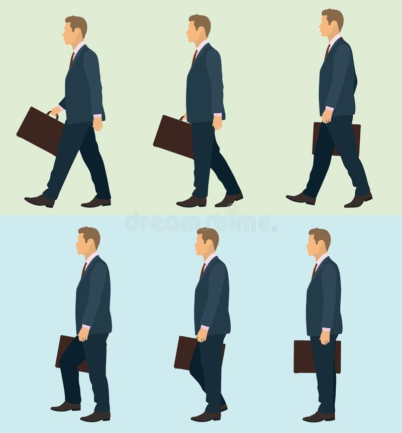 De zijillustratie van de gangcyclus voor de Bedrijfsmens vector illustratie