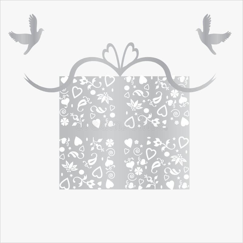 De zilveren 25ste Kaart van de Gift van de Verjaardag van het Huwelijk vector illustratie