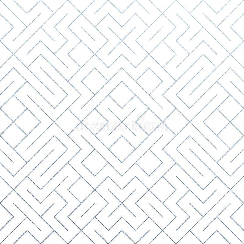 De zilveren abstracte geometrische patroonachtergrond met schittert textuur Het vector naadloze patroon of ruit en metaalnetwerk  royalty-vrije illustratie