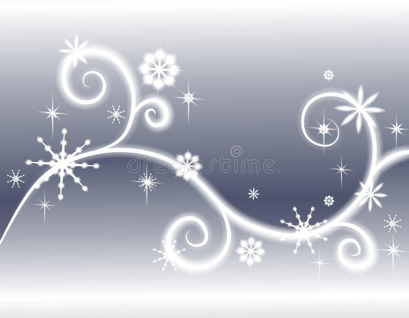 De Zilveren Achtergrond van de Sneeuwvlokken van sterren royalty-vrije illustratie