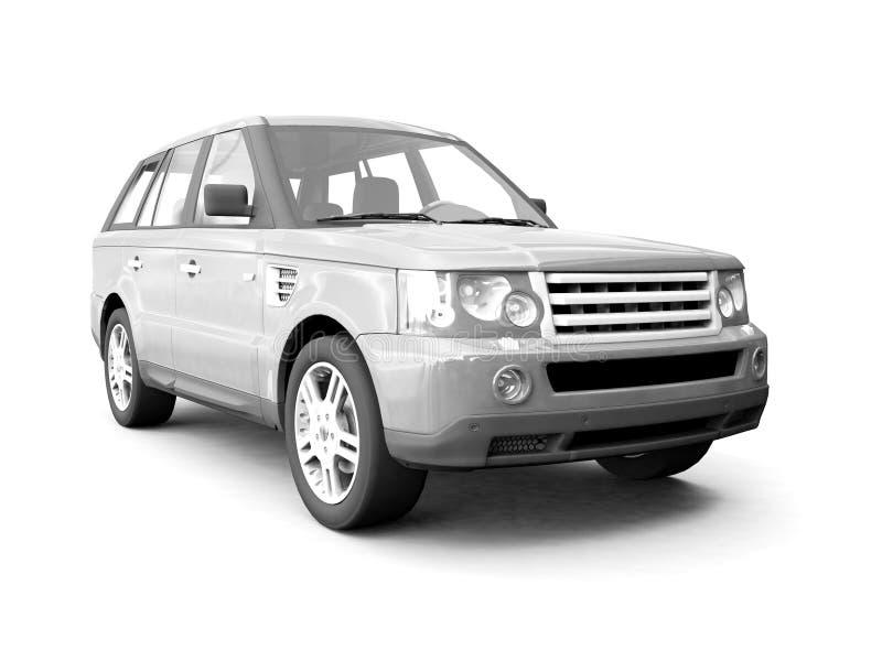De zilveren auto van de vierwielaandrijving vector illustratie