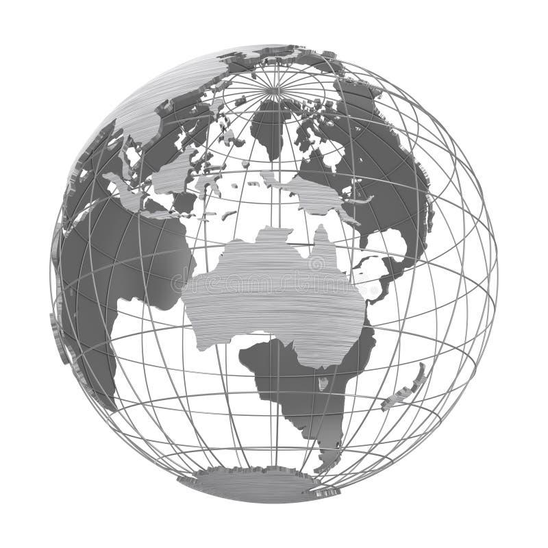 De zilveren 3D geïsoleerde Bol van de Aardeplaneet stock illustratie