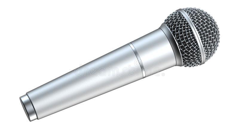 De zilveren die microfoon, op witte 3D achtergrond wordt geïsoleerd, geeft terug stock illustratie