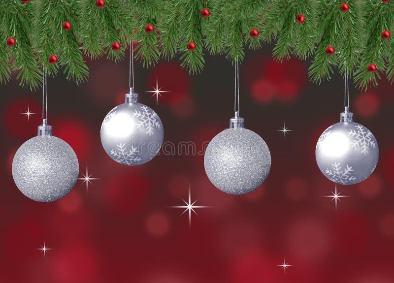 De zilveren fonkeling en sneeuwvlokkerstmisballen met rode abstracte bokehachtergrond en pijnboom vertakken zich royalty-vrije stock afbeeldingen