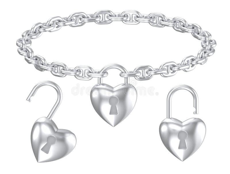 De zilveren geïsoleerde halsband van het hartslot tegenhanger stock illustratie