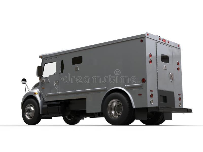 De zilveren gepantserde auto van het contant geldvervoer - laag hoek zijaanzicht stock foto