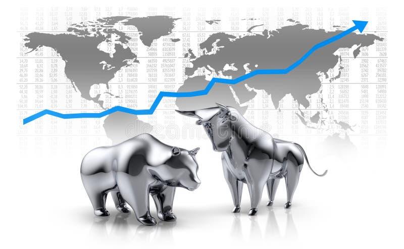 De zilveren glanzende stier en draagt - concepteneffectenbeurs royalty-vrije illustratie