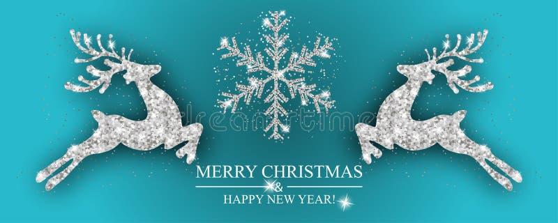 De de zilveren herten en sneeuwvlok van het Kerstmispatroon Kerstmisdecoratie met rendier Gelukkige Nieuwjaar blauwe achtergrond  stock illustratie