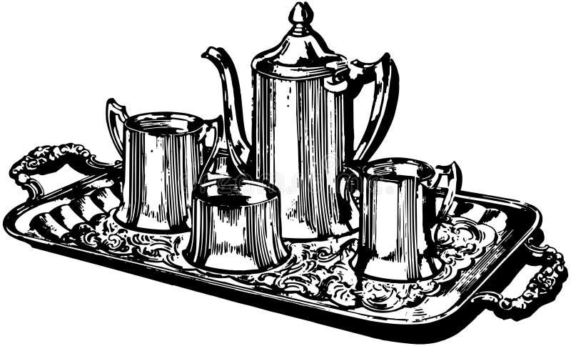 De zilveren Koffiedienst royalty-vrije illustratie