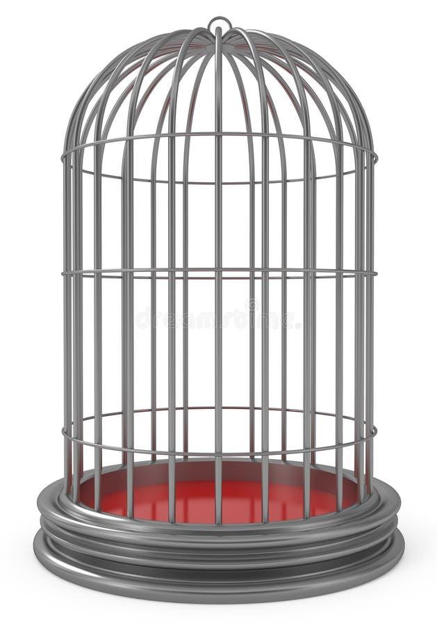 De zilveren Kooi van de Vogel die op wit wordt geïsoleerd stock illustratie