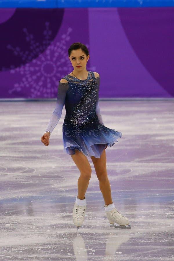 De zilveren medaillewinnaar Evgenia Medvedeva van Olympische Atleet van Rusland voert in Team Event Ladies Single Skating Kort Pr royalty-vrije stock afbeeldingen