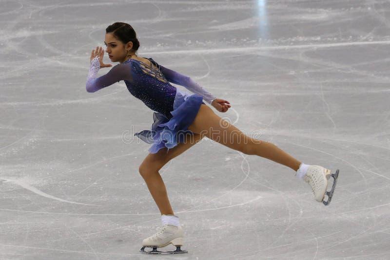 De zilveren medaillewinnaar Evgenia Medvedeva van Olympische Atleet van Rusland voert in Team Event Ladies Single Skating Kort Pr royalty-vrije stock fotografie