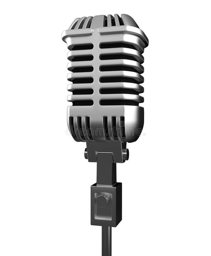 De zilveren metaalmicrofoon isoleert op witte achtergrond met clippin royalty-vrije illustratie