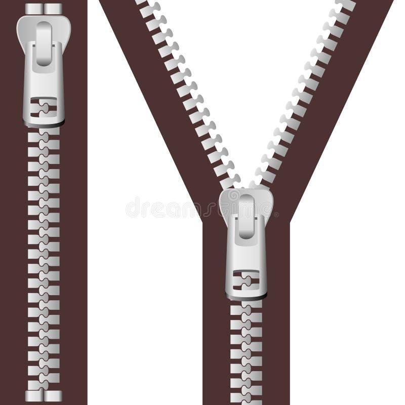 De zilveren Reeks van de Ritssluiting vector illustratie