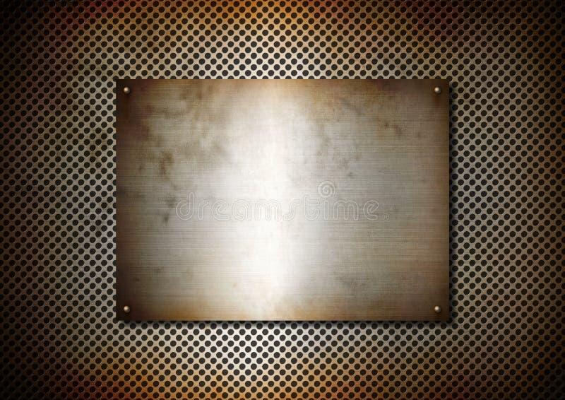 De zilveren roestige plaat van de Metaaltextuur met schroeven stock foto's