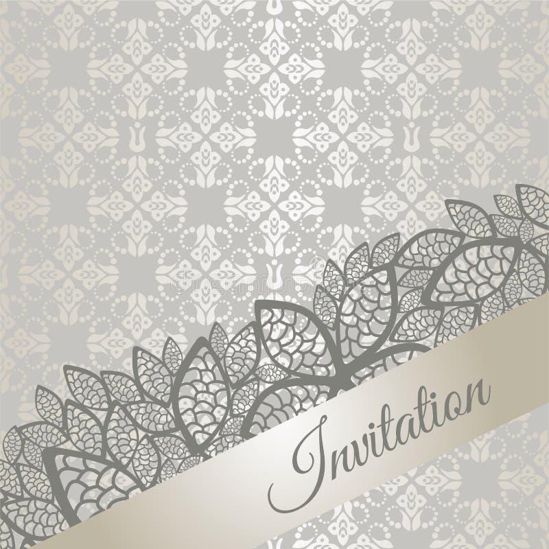 De zilveren speciale kaart van de gelegenheidsuitnodiging vector illustratie