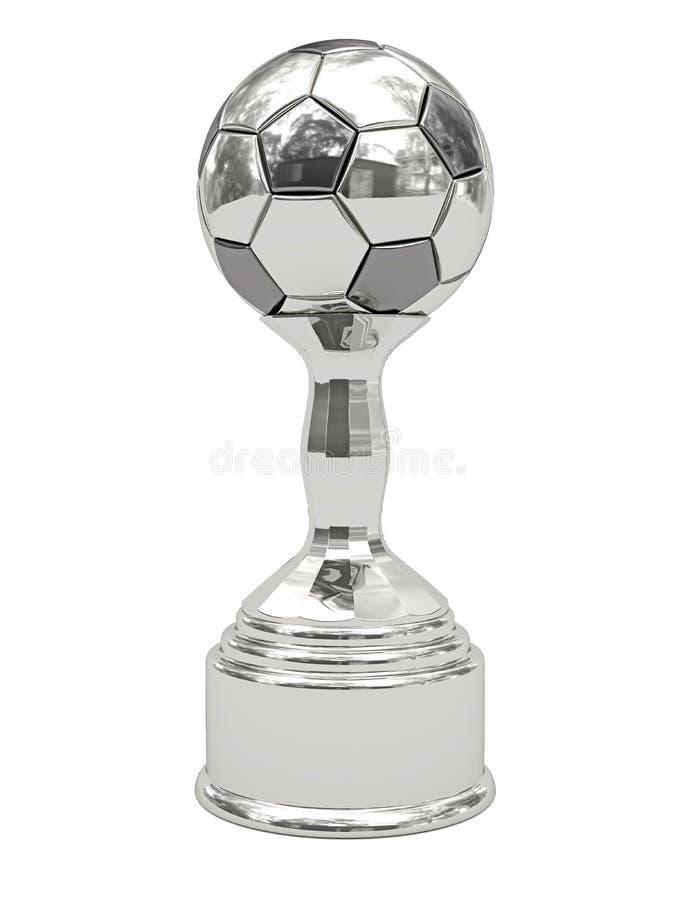 De zilveren trofee van de voetbalbal op voetstuk stock foto's
