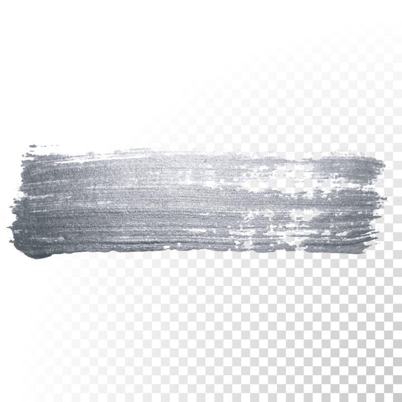 De zilveren de vlek of smudge van de verfborstel slag en de abstracte de scharvlek van de penseel schitterende inkt met schittere vector illustratie