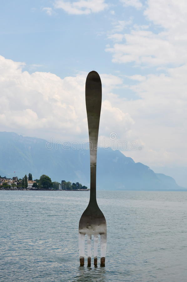De zilveren vork voor viert tiende verjaardag van Alimentarium-museum in Vevey Zwitserland royalty-vrije stock afbeeldingen