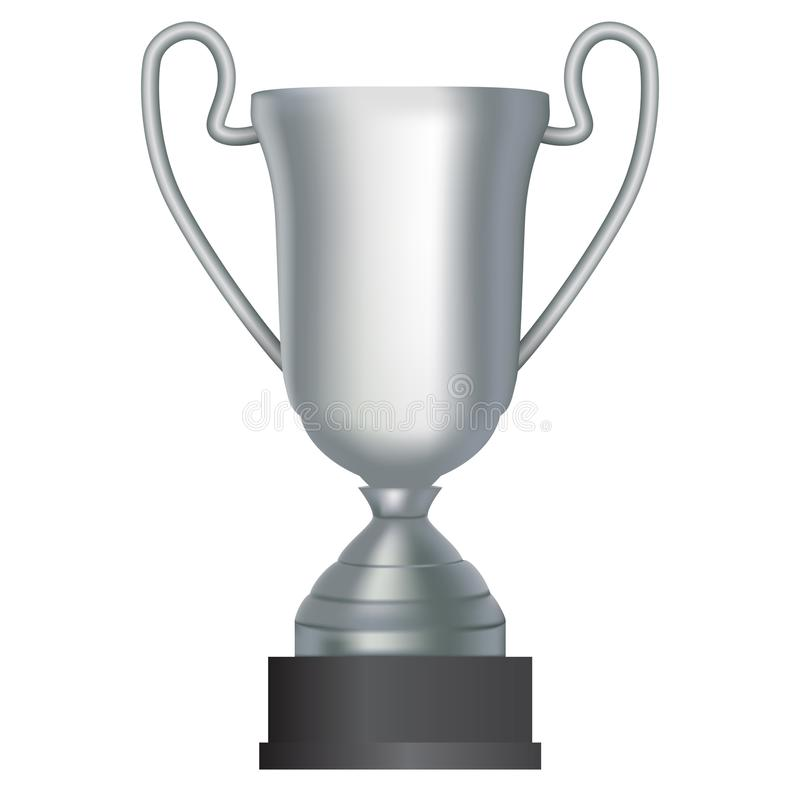 De zilveren winnaar vormt tweede plaats op witte achtergrond tot een kom Vector illustratie vector illustratie