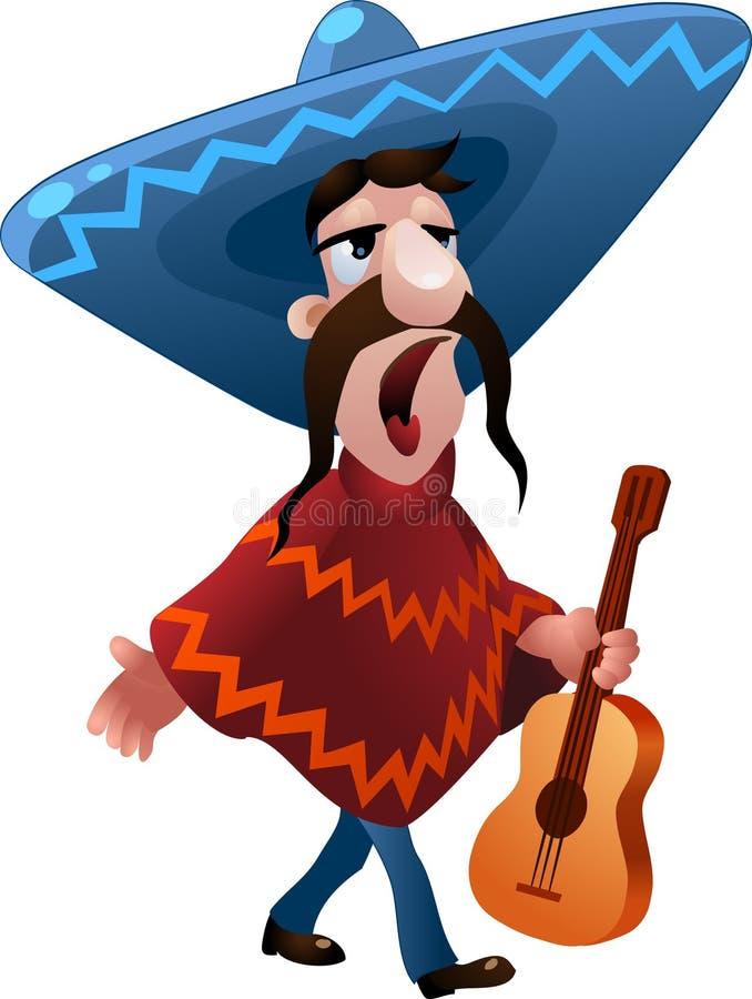 De zingende Mexicaanse man vector illustratie