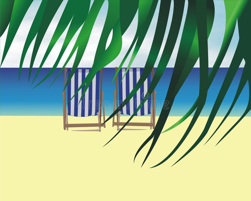 De zitkamerstoel van het strand royalty-vrije illustratie