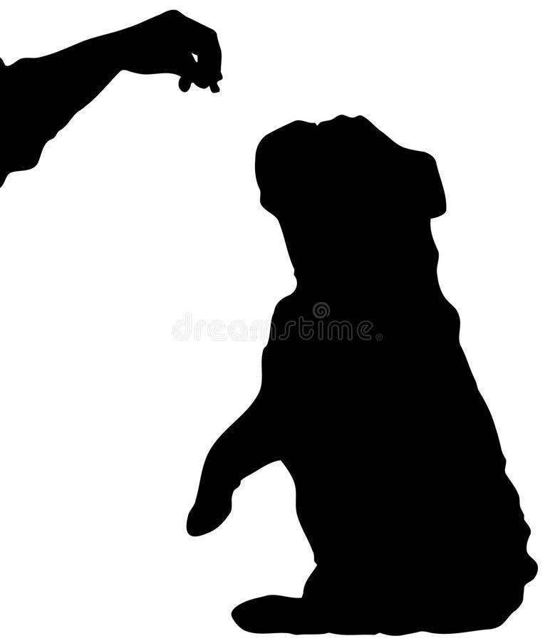 De zitting die van de hond voor traktatie bedelt vector illustratie