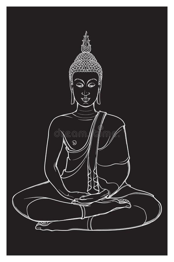 De zitting van Boedha en het mediteren in de enige lotusbloempositie Ingewikkelde die handtekening op zwarte achtergrond wordt ge royalty-vrije illustratie