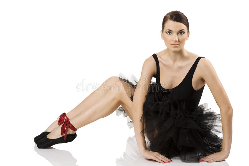 De zitting van de ballerina royalty-vrije stock afbeeldingen
