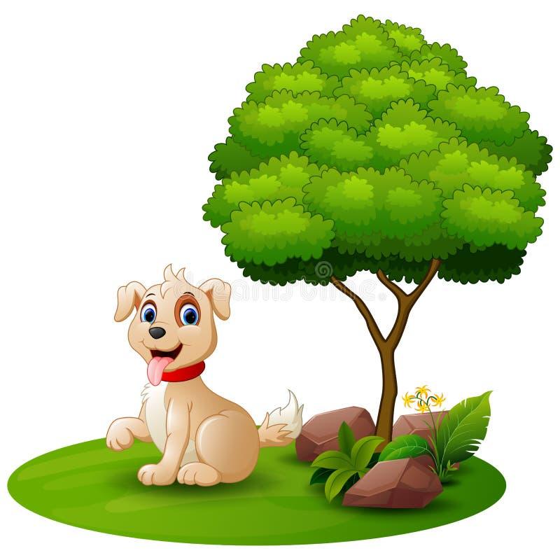 De zitting van de beeldverhaalhond onder een boom op een witte achtergrond stock illustratie