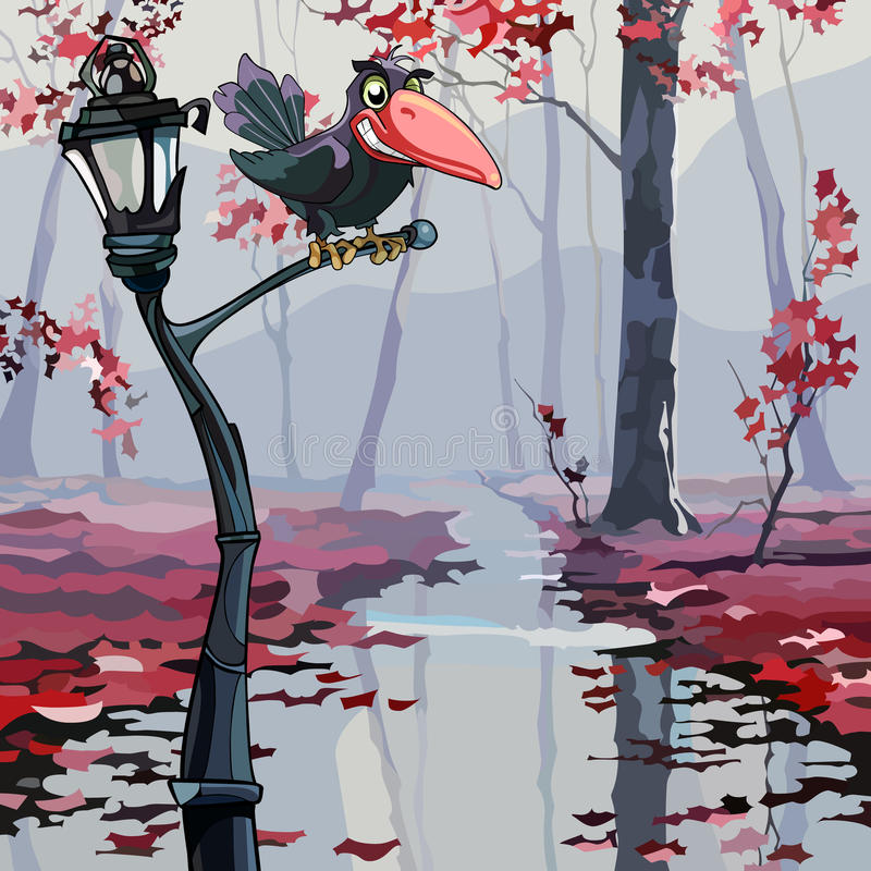 De zitting van de beeldverhaalkraai op een lantaarn in het de herfst natte hout vector illustratie