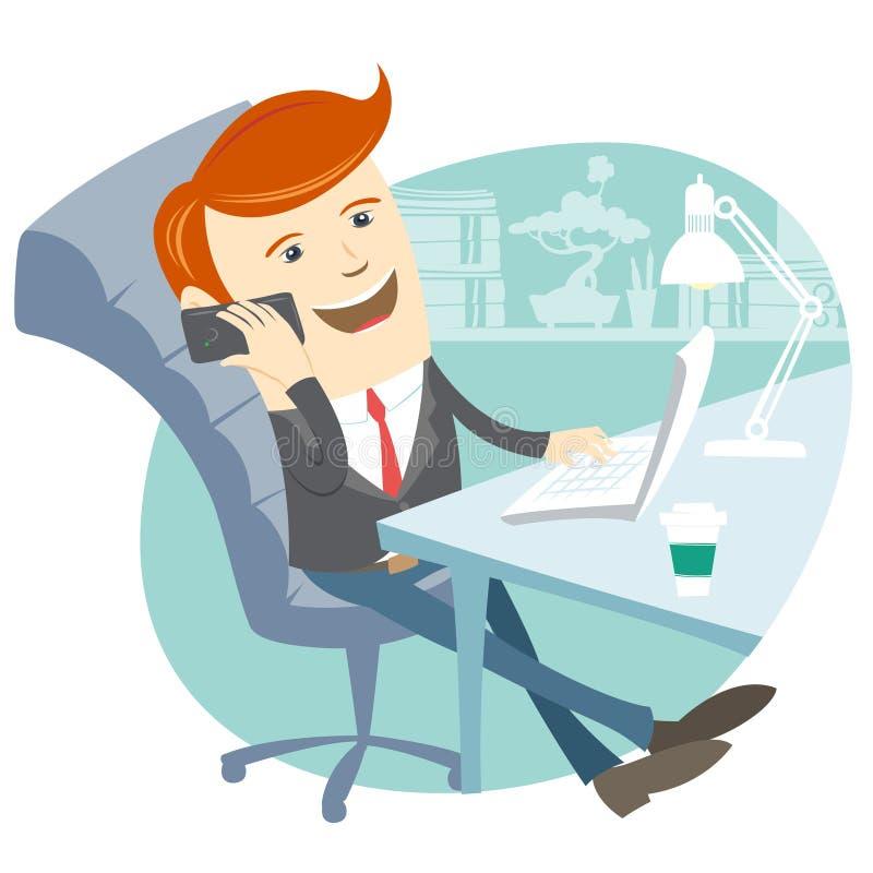 De zitting van de bureaumens bij zijn werkend bureau met telefoon stock illustratie