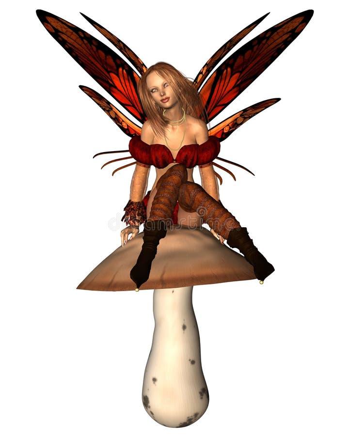 De zitting van de Fee van de herfst op een giftige paddestoel royalty-vrije illustratie