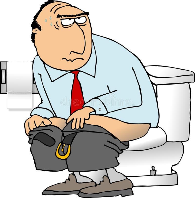 De zitting van de mens op een toilet stock illustratie