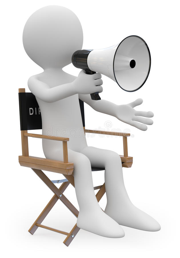 De zitting van de regisseur als voorzitter met een megafoon stock illustratie