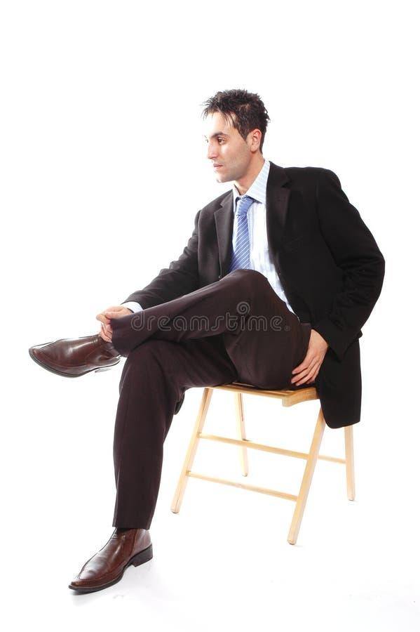 De zitting van de zakenman royalty-vrije stock foto