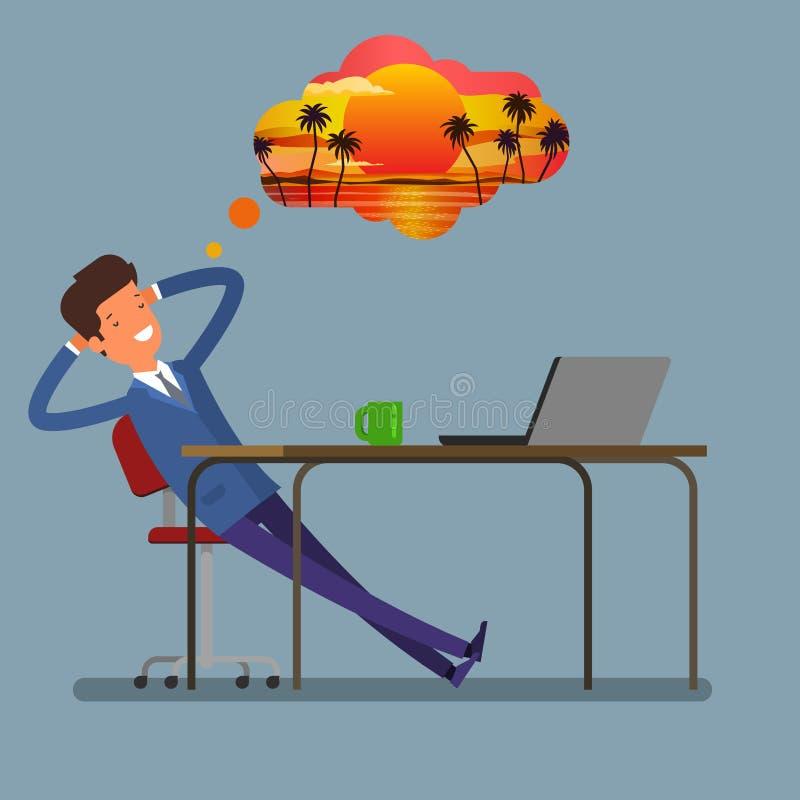 De zitting van de zakenman bij de lijst Op de lijststapels omslagen met documenten vector illustratie
