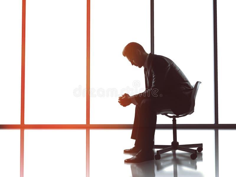 De zitting van de zakenman in bureau royalty-vrije stock afbeeldingen