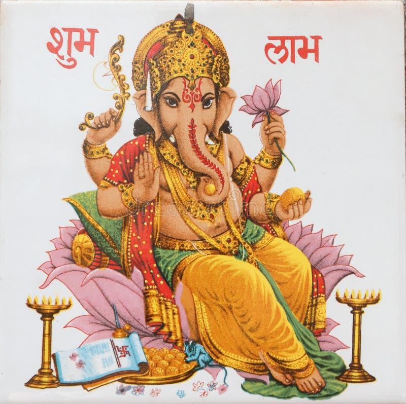 De zitting van Ganesha op lotusbloembloem, India royalty-vrije stock fotografie