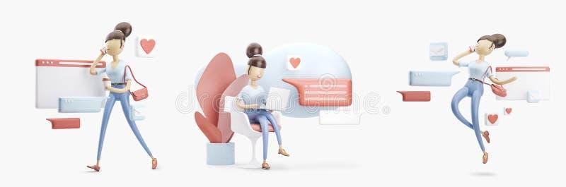 De zitting van het beeldverhaalkarakter op een bellenbespreking Sociaal media concept Reeks 3d Illustraties stock illustratie