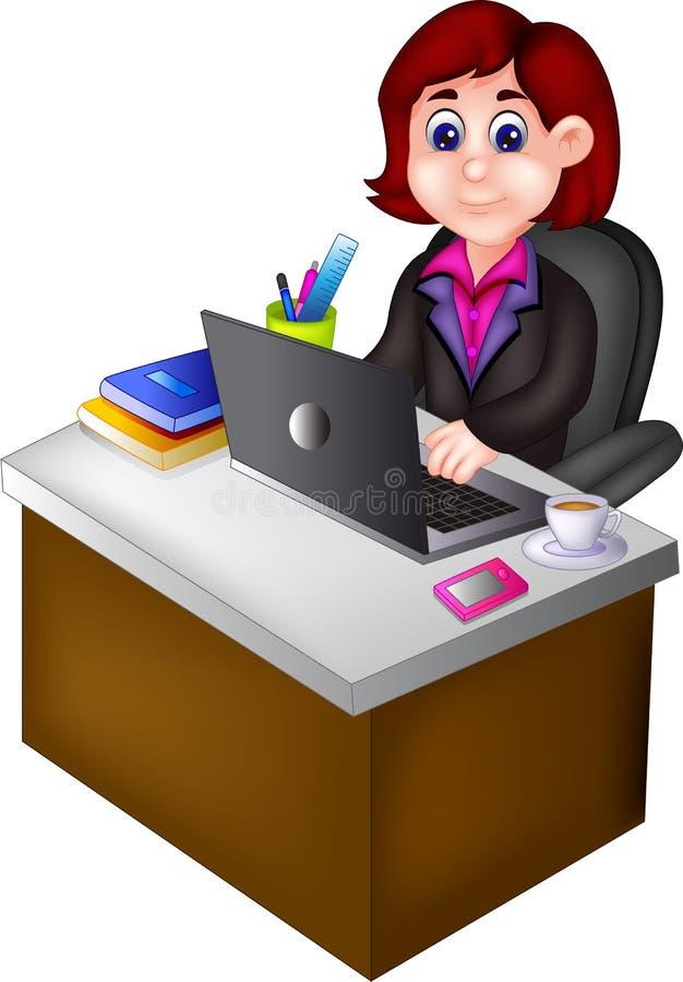 De zitting van het de carrièrebeeldverhaal van de schoonheidsvrouw in bureauruimte royalty-vrije illustratie